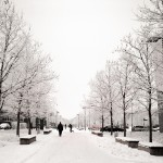 snow-cowered campus